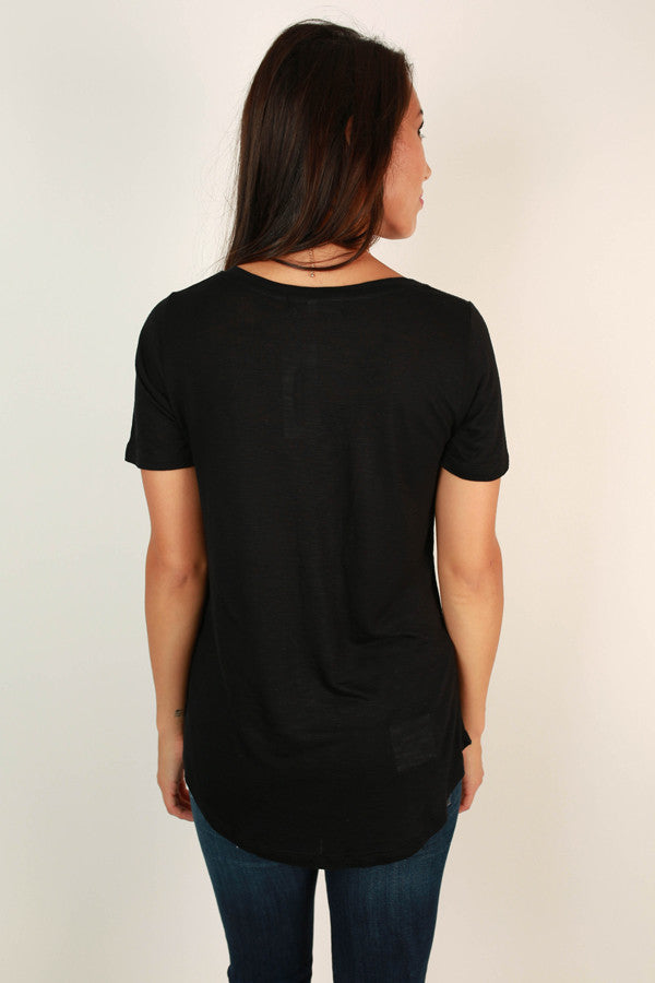 As Good As It Gets V-Neck Pocket Tee in Black