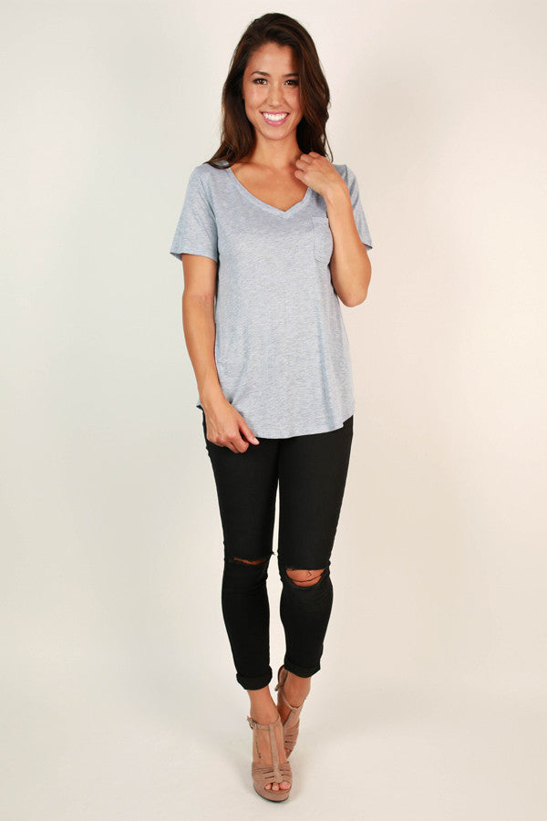 As Good As It Gets V-Neck Pocket Tee in Light Grey