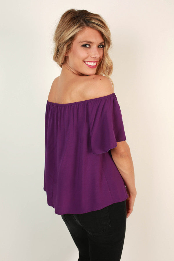 Rome with Me Ruffle Top in Purple