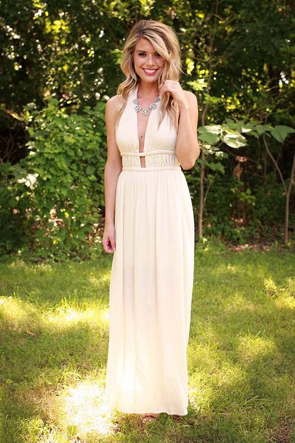 Evening in Athens Cut Out Maxi in Cream