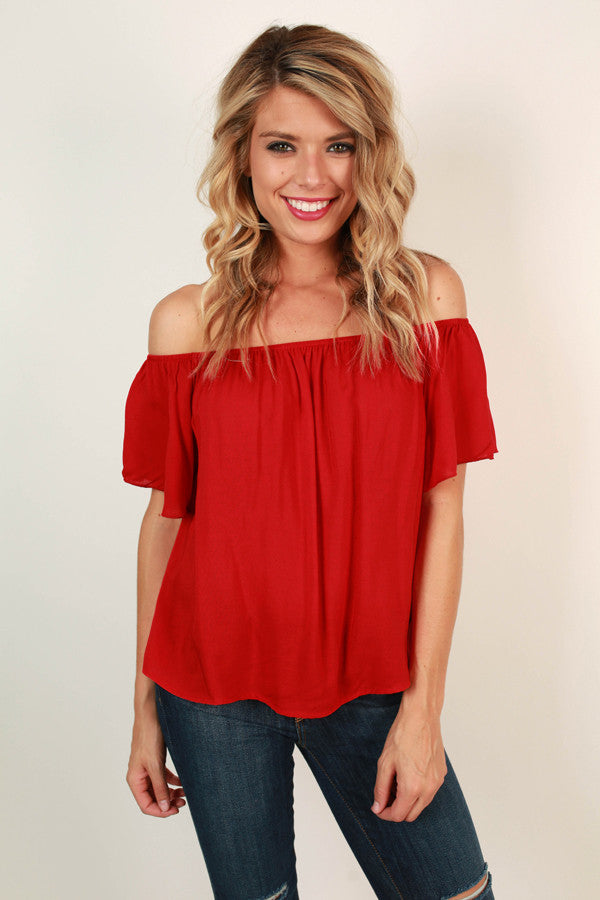 Rome with Me Ruffle Top in Red