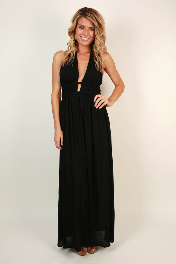 Evening in Athens Cut Out Maxi in Black