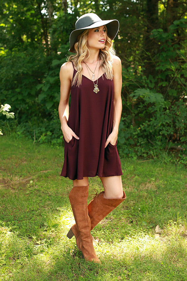 Stadium Chic Shift Dress in Maroon