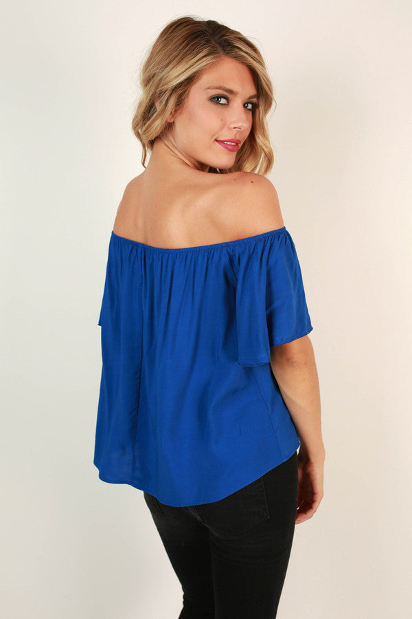 Rome with Me Ruffle Top in Blue