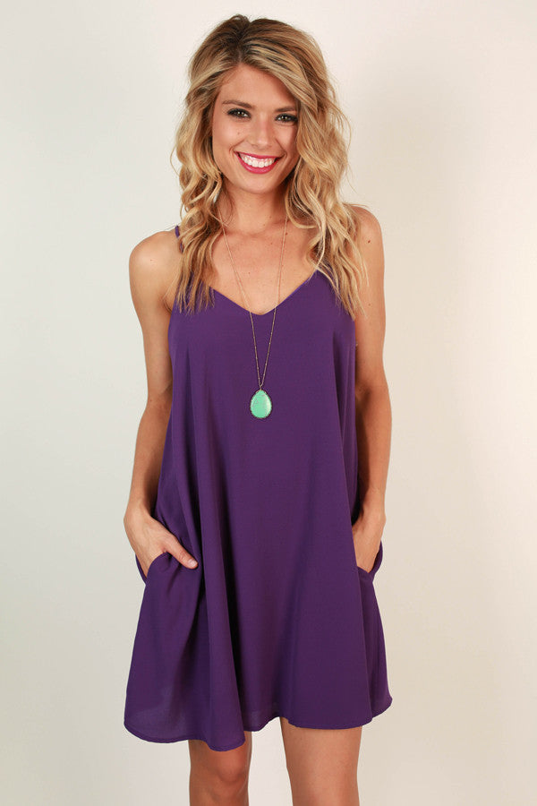 Stadium Chic Shift Dress in Purple