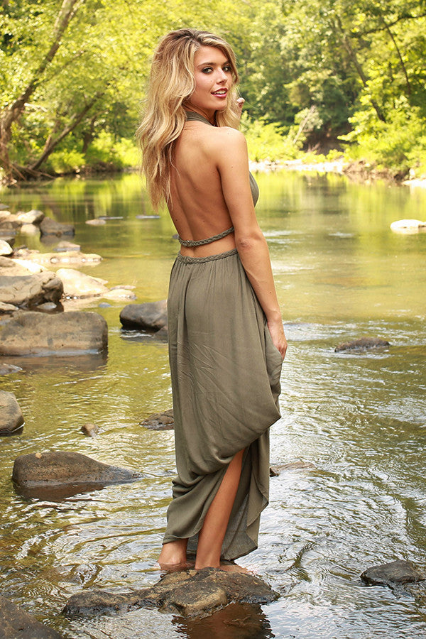 Evening in Athens Cut Out Maxi in Sage