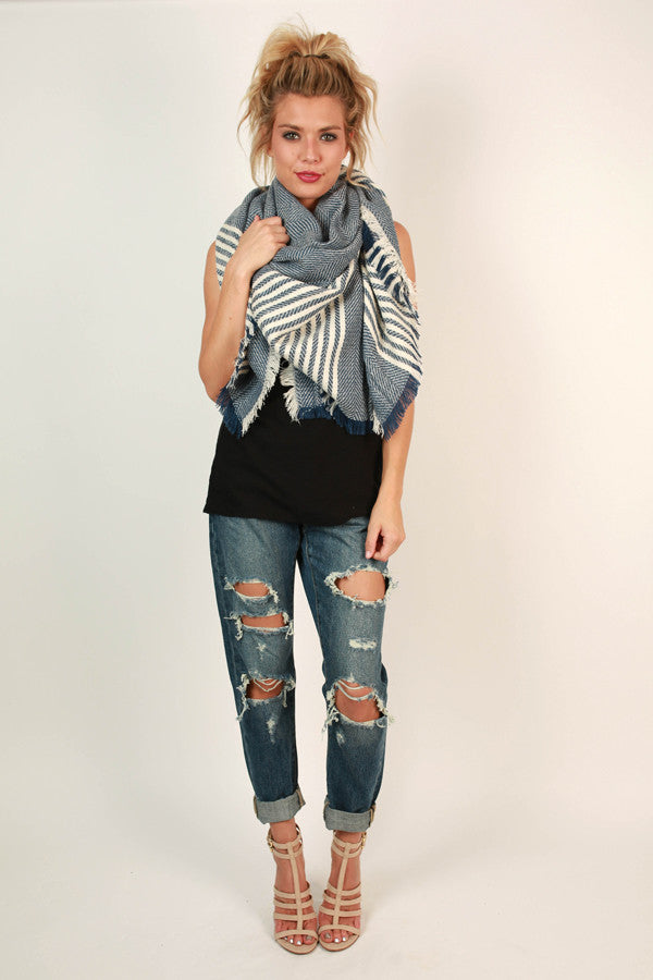 Cozy in Stripes Blanket Scarf in Riverside