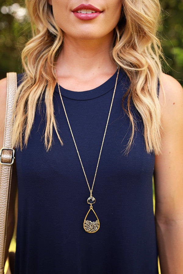 Wink Your Way Necklace in Light Grey
