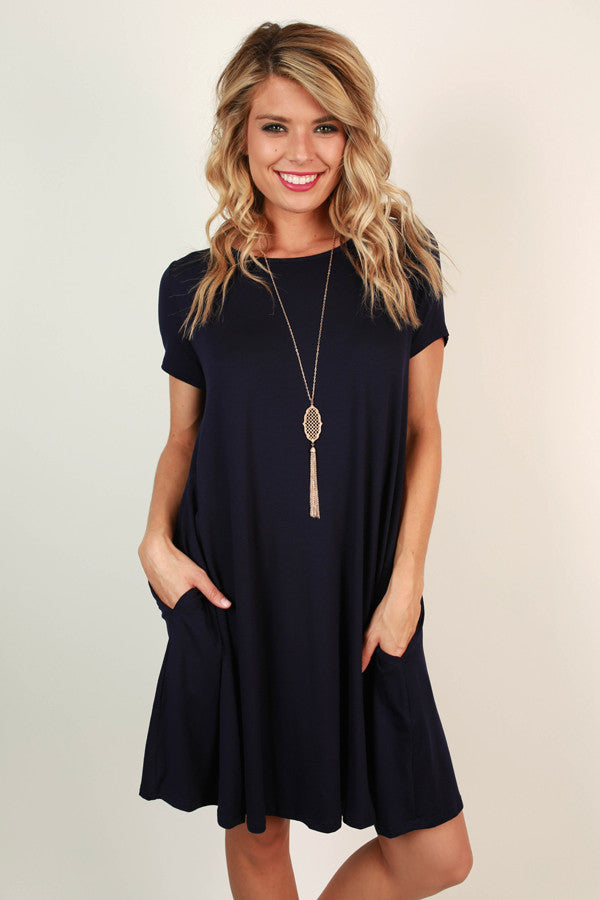 Saturday Night Lights Shift Dress in Navy