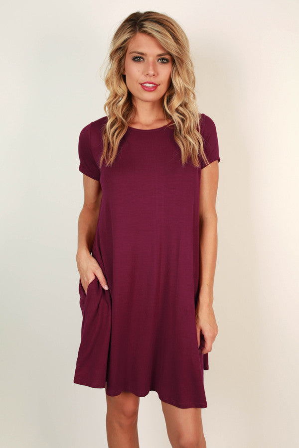Saturday Night Lights Shift Dress in Sangria