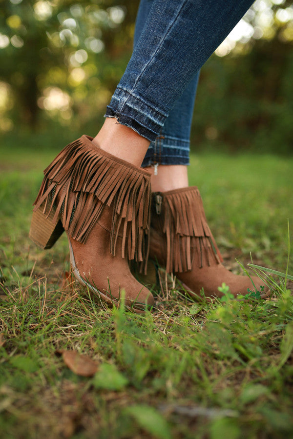 Auriga Fringe Bootie in Brown