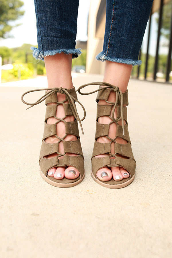 Barnes Lace Up Heel in Army Green
