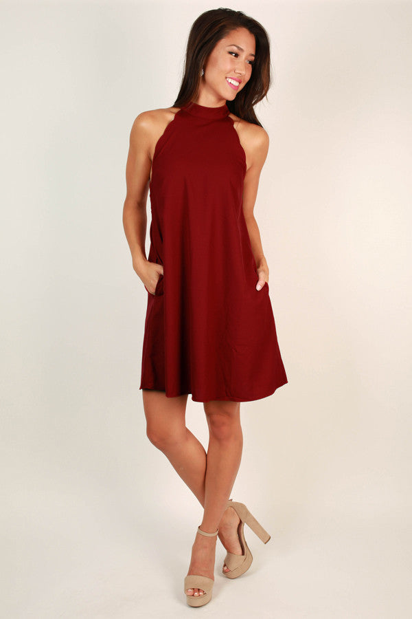 Uptown Vibes Scallop Mini Dress in Crimson