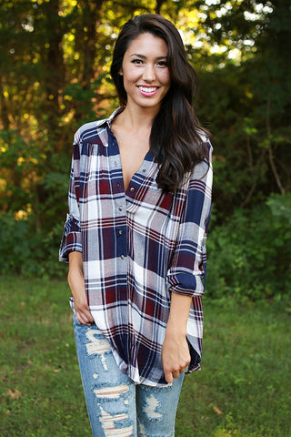 Pacific Coast Plaid Tunic in Navy