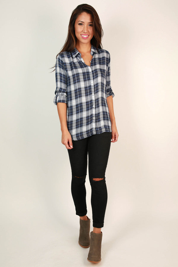 Perfect in Plaid Top in Airy Blue