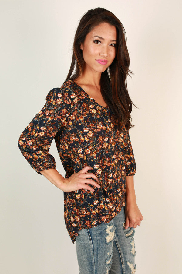 Mum's The Word Floral Top in Navy