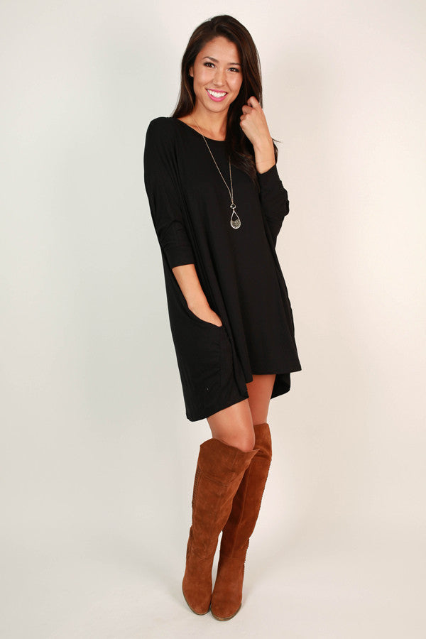 Mind Made Up Shift Dress in Black