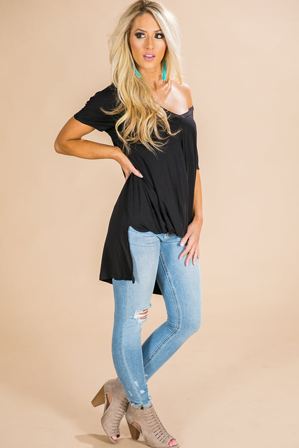 Never Let You Down Tee in Black