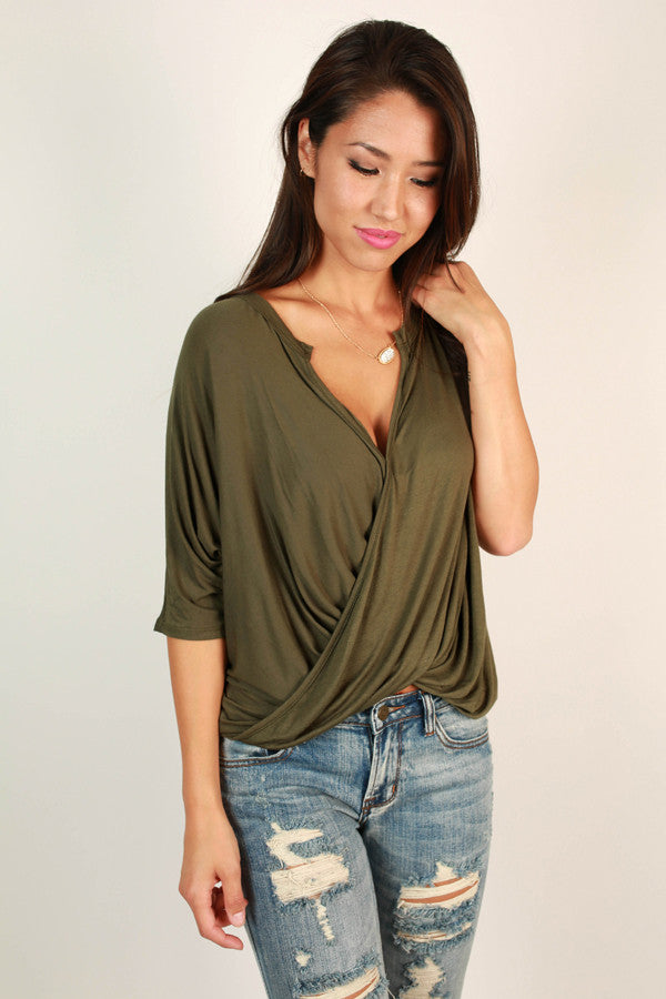 City Night Soiree Top in Army Green