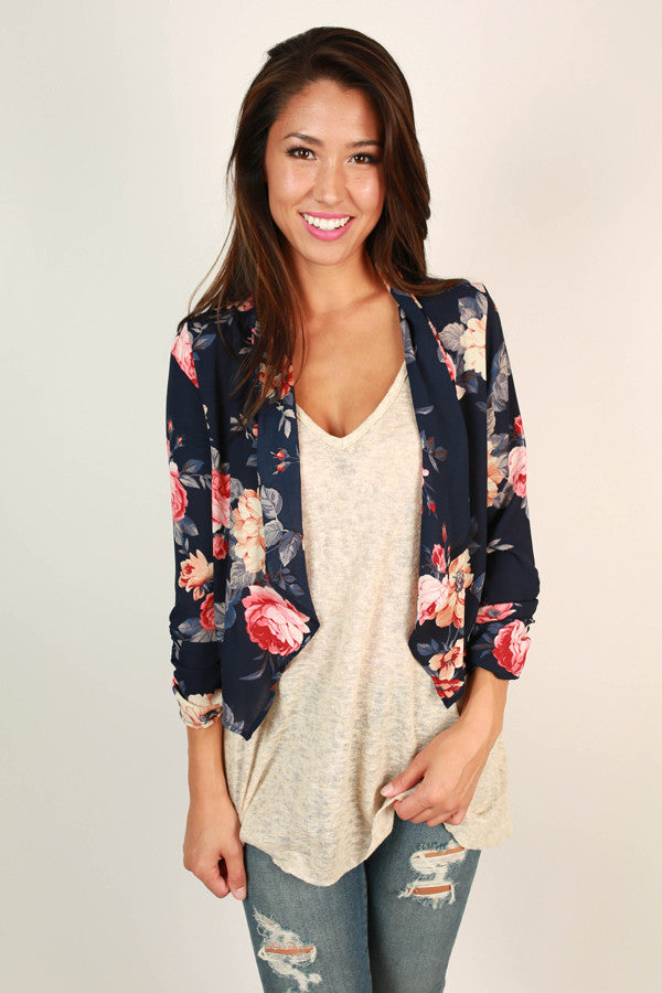 Dreamers Island Floral Overlay in Navy