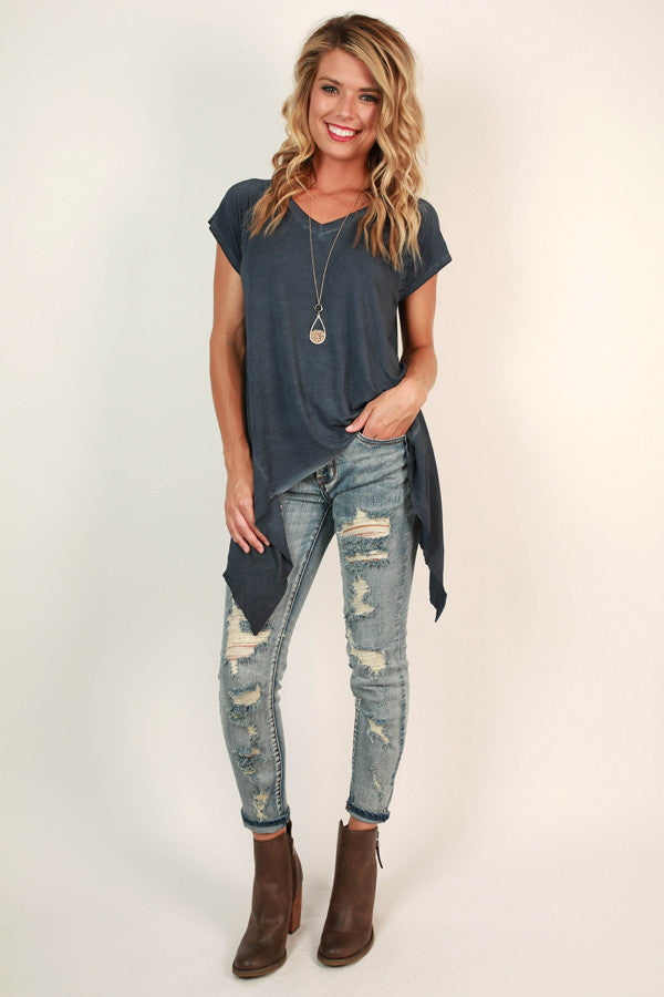 Walk This Way V-Neck Top in Riverside