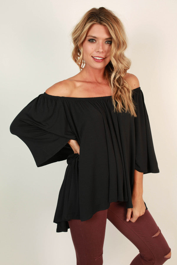 Born Beautiful Off Shoulder Top in Black