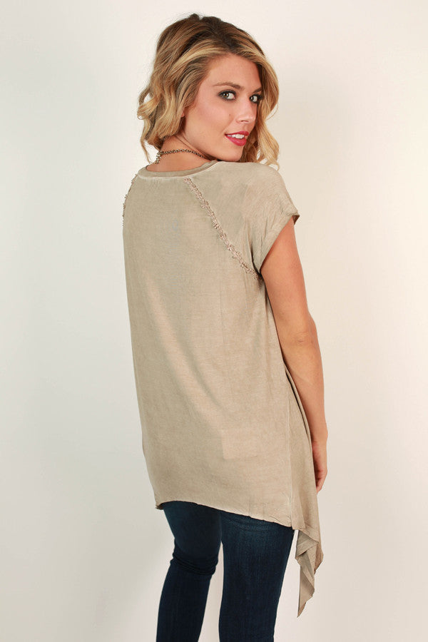 Walk This Way V-Neck Top in Warm Taupe