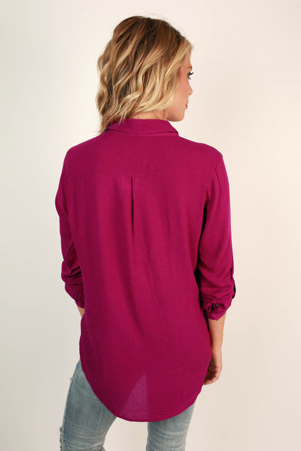 Social Butterfly Button Up Top in Berry