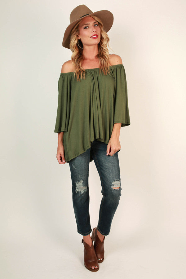 Born Beautiful Off Shoulder Top in Olive