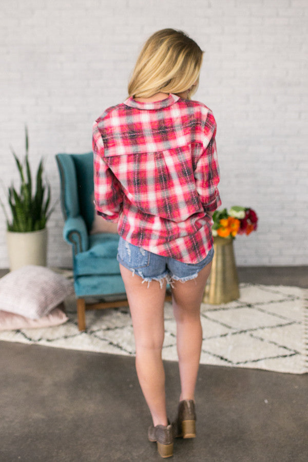Pretty in Pink Plaid Top