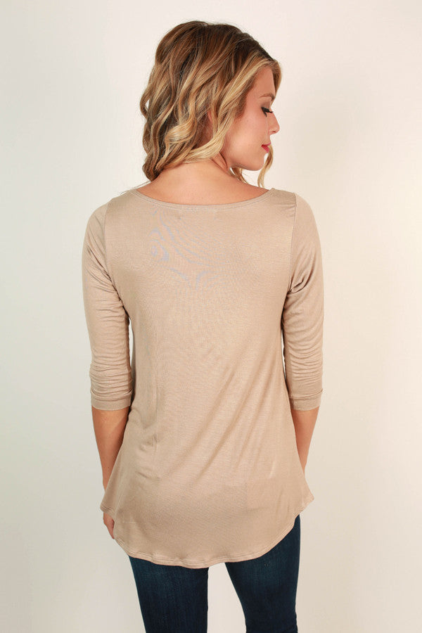 Jet Set Top in Warm Taupe