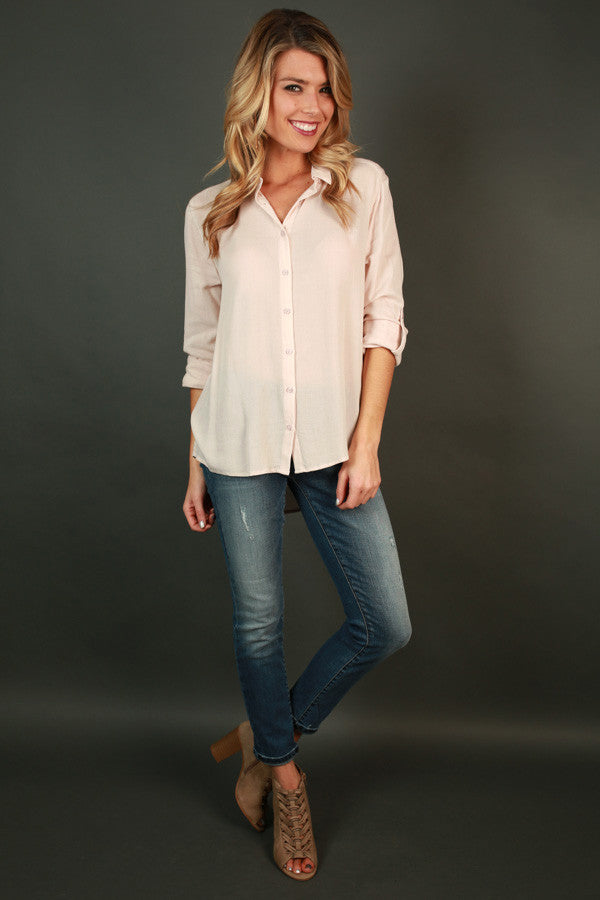 Social Butterfly Button Up Top in Nude