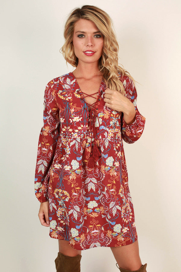 Smitten With You Floral Dress in Scarlet