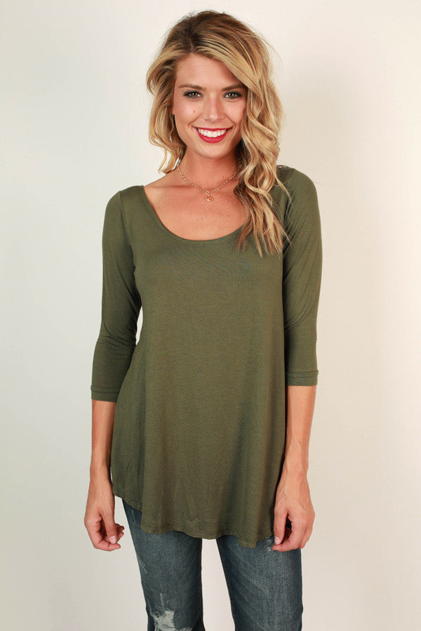 Jet Set Top in Olive