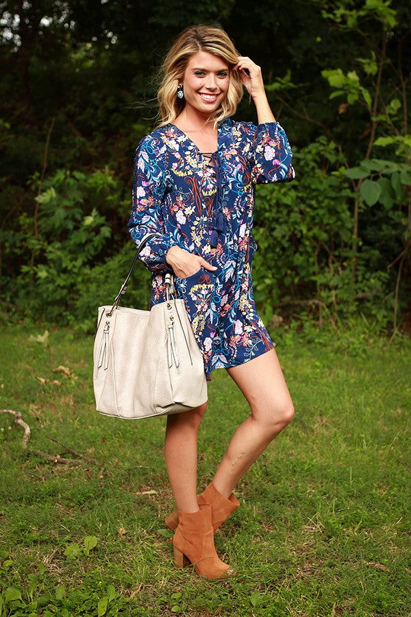 Smitten With You Floral Dress in Sapphire