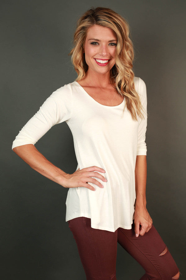 Jet Set Top in Ivory