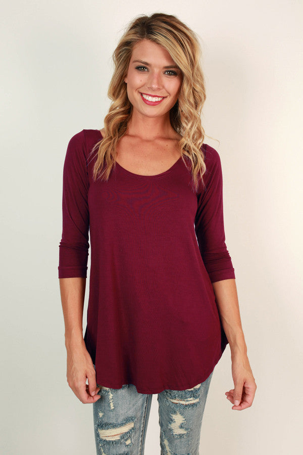 Jet Set Top in Maroon