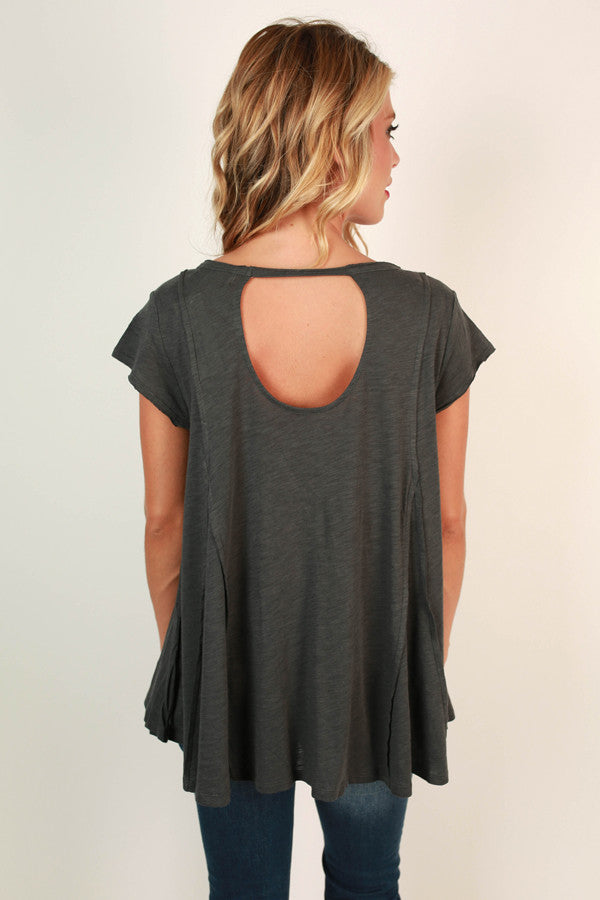 Got Your Back Tee in Charcoal