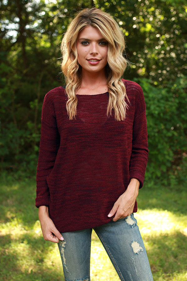 Sweet as Sugar Sweater in Crimson