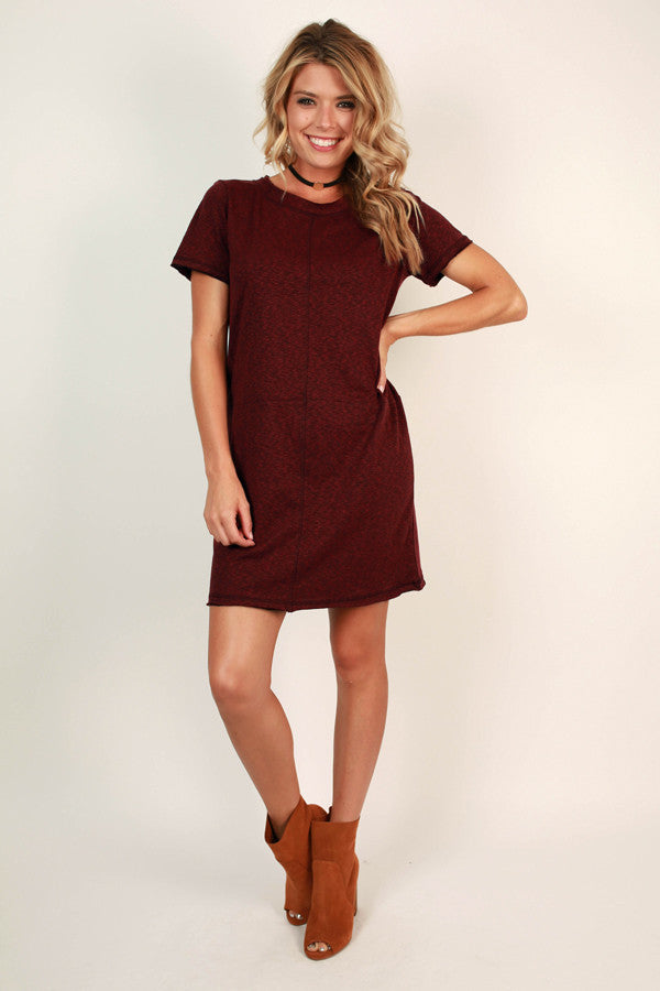 Say You Will Shift Dress in Maroon