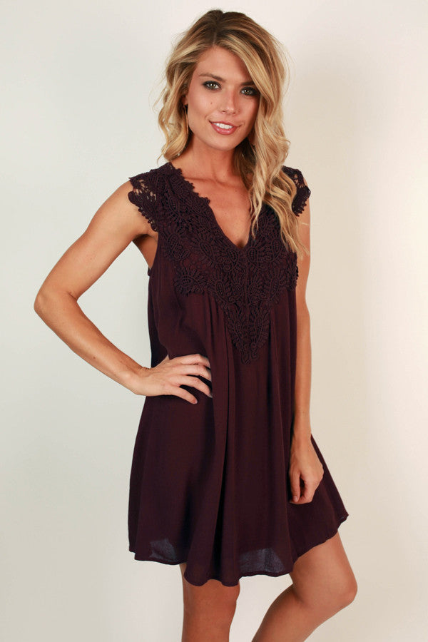 Talk Of The Town Crochet Shift Dress in Wine