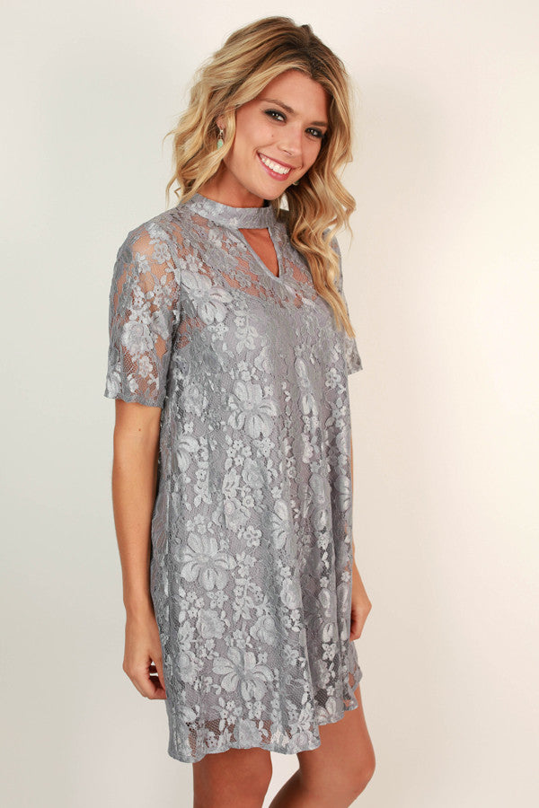 Beat of My Heart Lace Shift Dress in Grey