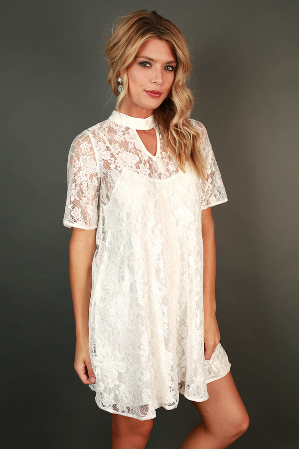 Beat of My Heart Lace Shift Dress in White