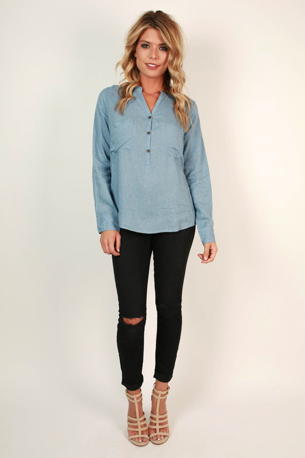 A Day by The Bay Top in Airy Blue