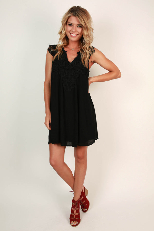 Talk Of The Town Crochet Shift Dress in Black