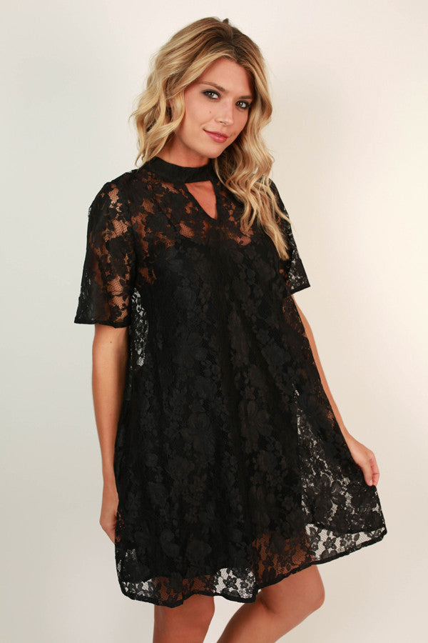 Beat of My Heart Lace Shift Dress in Black