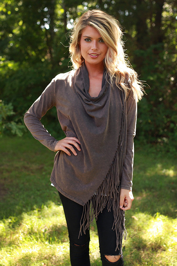 Feeling Fringy Cardigan in Smoky Black