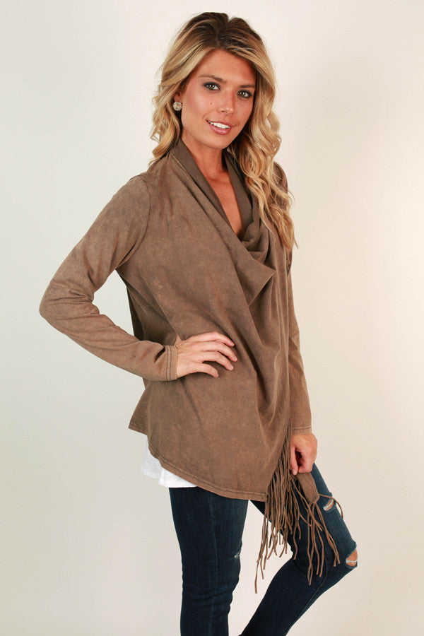Feeling Fringy Cardigan in Warm Taupe