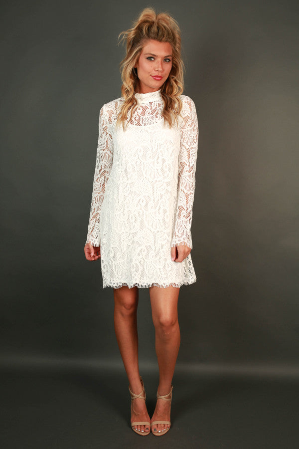 Walk My Way Lace Dress in White