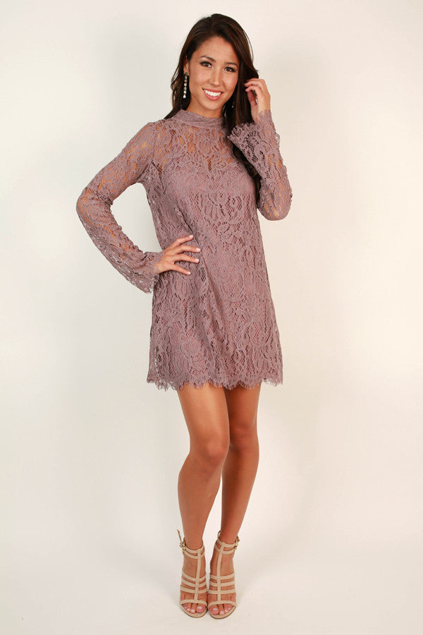 Walk My Way Lace Dress in Heirloom Lilac